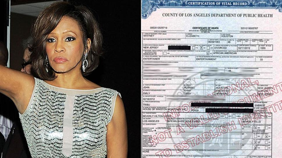 Whitney Houston's Death Certificate Details | Entertainment