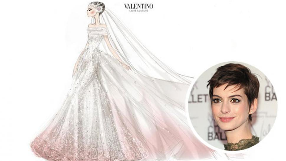 Anne hathaways valentino wedding dress sketch entertainment tonight anne hathaways valentino wedding dress sketch junglespirit Gallery
