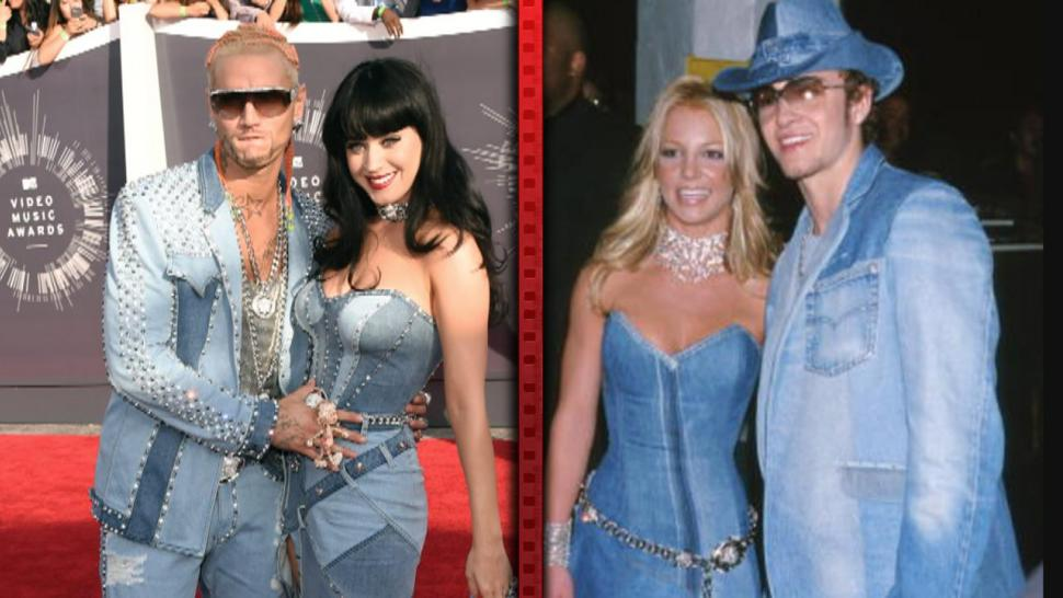 Katy Perry Pulls A Britney At Vmas With Denim Dress Entertainment Tonight