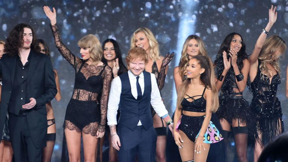 b5ec7c1e12 Ed Sheeran Reveals the Dirty Joke Ariana Grande Told Him at the Victoria's  Secret Fashion Show