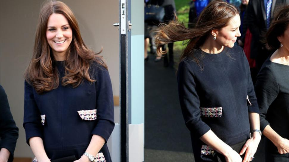 bdd673c6680 Pregnant Kate Middleton Glows in Adorable Navy Shift Dress ...