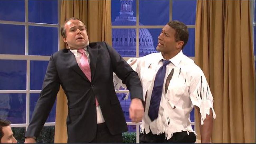 dwayne johnson hulks out as president the rock obama on snl