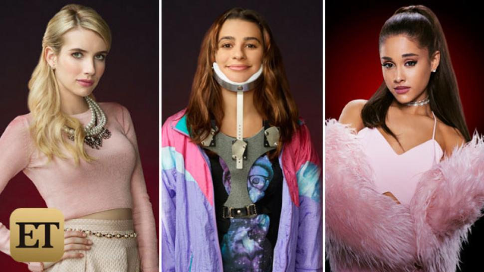 Exclusive First Look At Scream Queens Cast Photos Ariana Grande Emma Roberts Lea Michele Look Killer Entertainment Tonight
