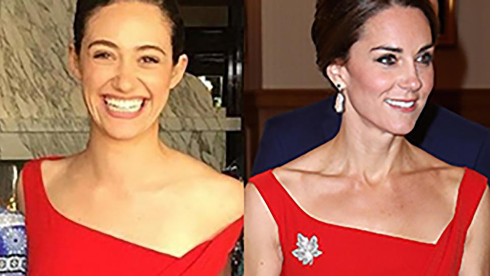 fashion face off emmy rossum wears same stunning red dress as kate middleton to her bridal shower