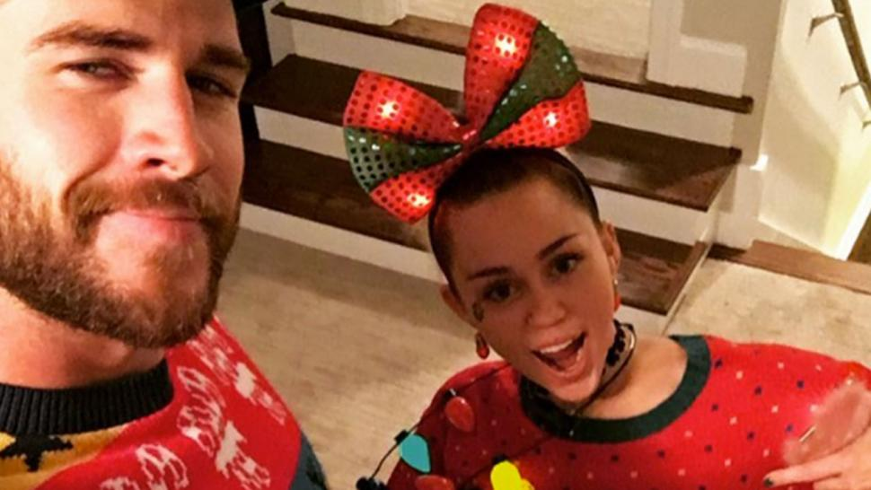 Miley Cyrus and Liam Hemsworth Rock Ugly Christmas Sweaters For ...