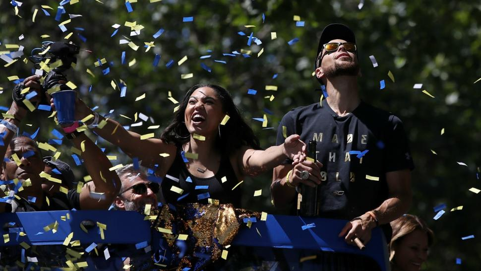 e9185e26bdff Steph Curry s Adorable Daughters Riley and Ryan Steal the Show at Warriors  Championship Parade