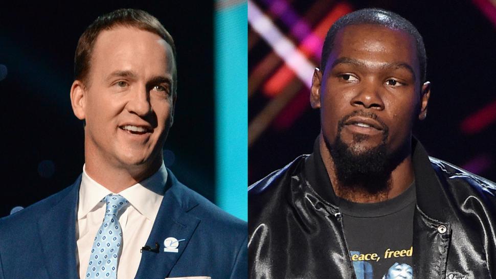 a400ddbda4fe Kevin Durant Didn t Love Peyton Manning s ESPY Awards Monologue Jokes --  See His Reaction!