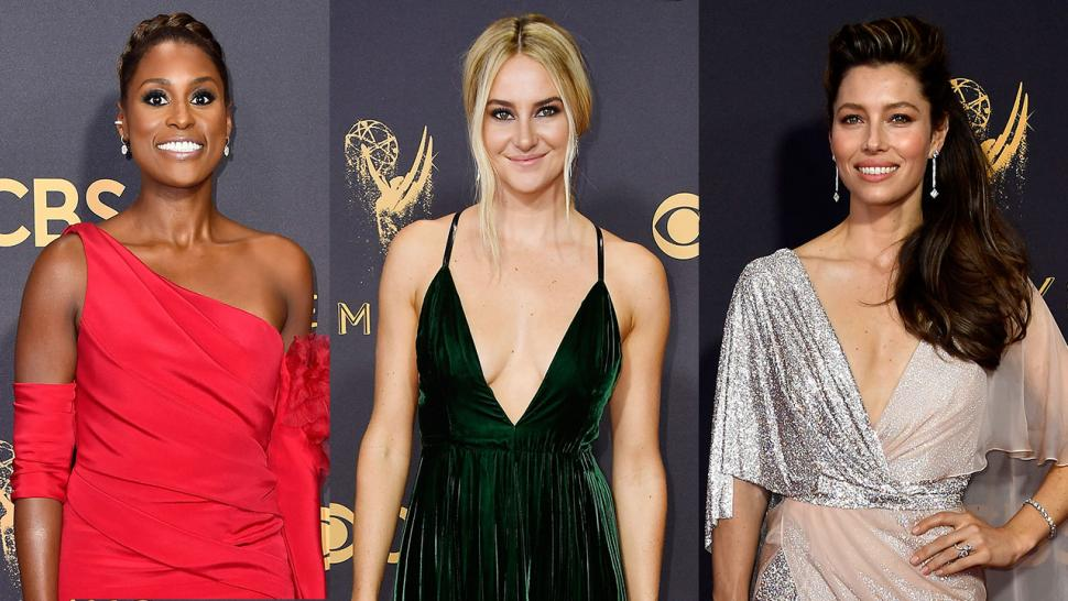 Issa Rae, Shailene Woodley and Jessica Biel at 2017 Emmys
