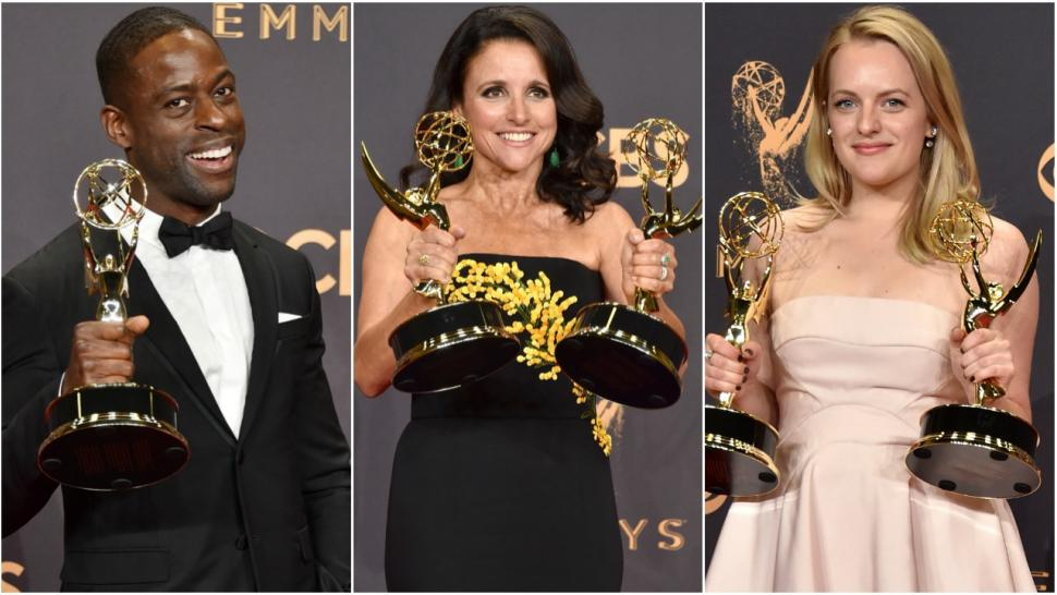 emmys 2017 winners julia louis-dreyfus sterling k brown elisabeth moss