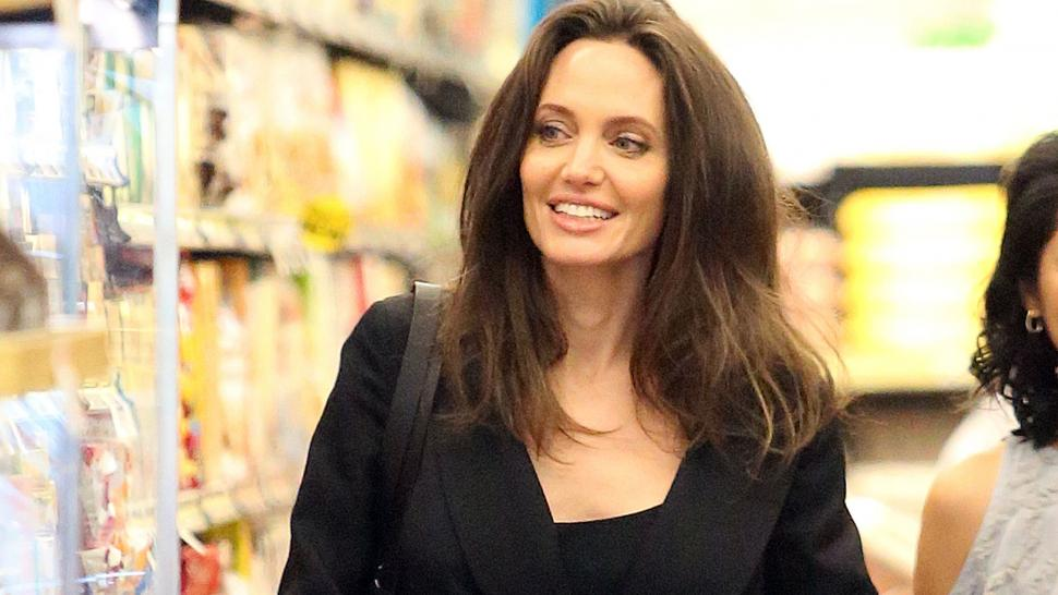 Angelina Jolie grocery shopping at Gelson's.