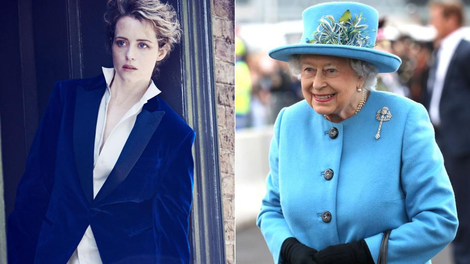Claire Foy and Queen Elizabeth II