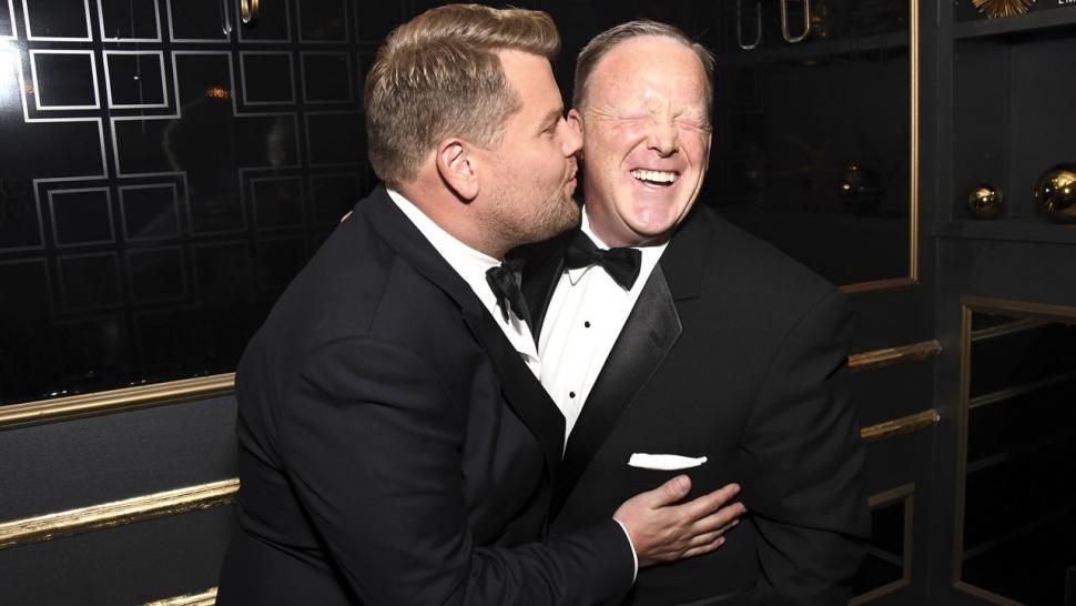 James Corden and Sean Spicer