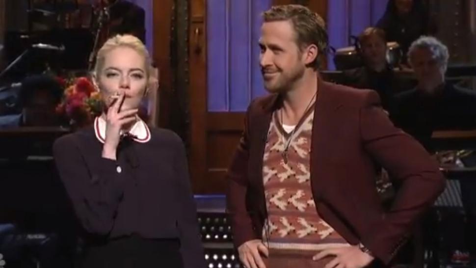 Emma Stone and Ryan Gosling in SNL Season 43 Monologue