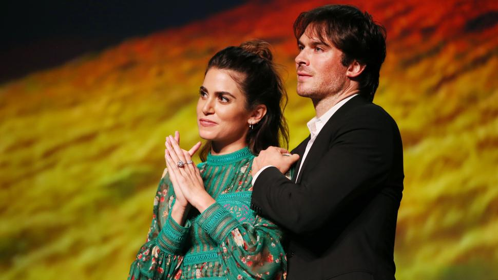 Nikki Reed (L) and Ian Somerhalder at the Environmental Media Association's 27th Annual EMA Awards at Barkar Hangar on September 23, 2017 in Santa Monica, California.