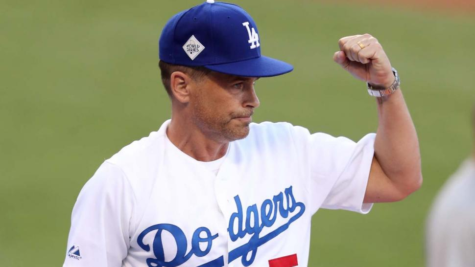 Rob Lowe at Dodger Stadium during Game 1 of the World Series
