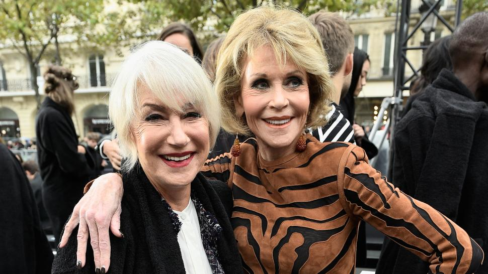 Helen Mirren and Jane Fonda at Paris Fashion Week L'Oreal show 2017