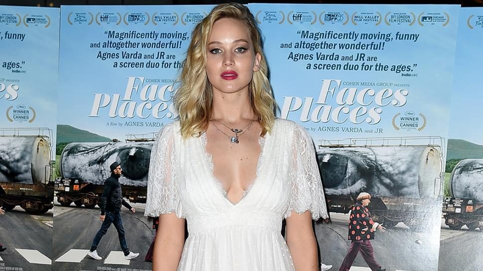 Jennifer Lawrence wears bridal gown