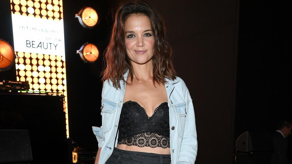 440d0766735dc Katie Holmes Shows Off Toned Abs in Sexy Lace Bra and Denim Jacket ...