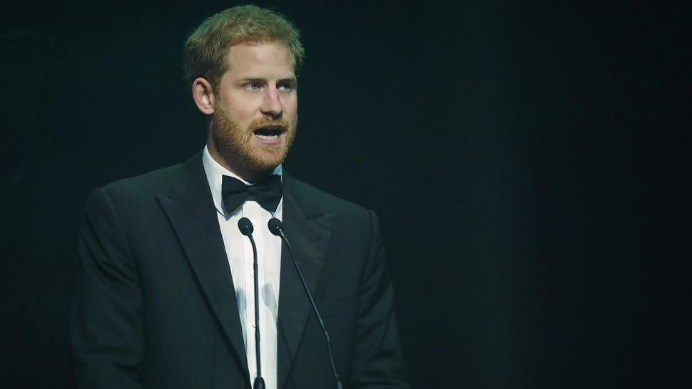 Prince Harry gives a speech on Diana's behalf