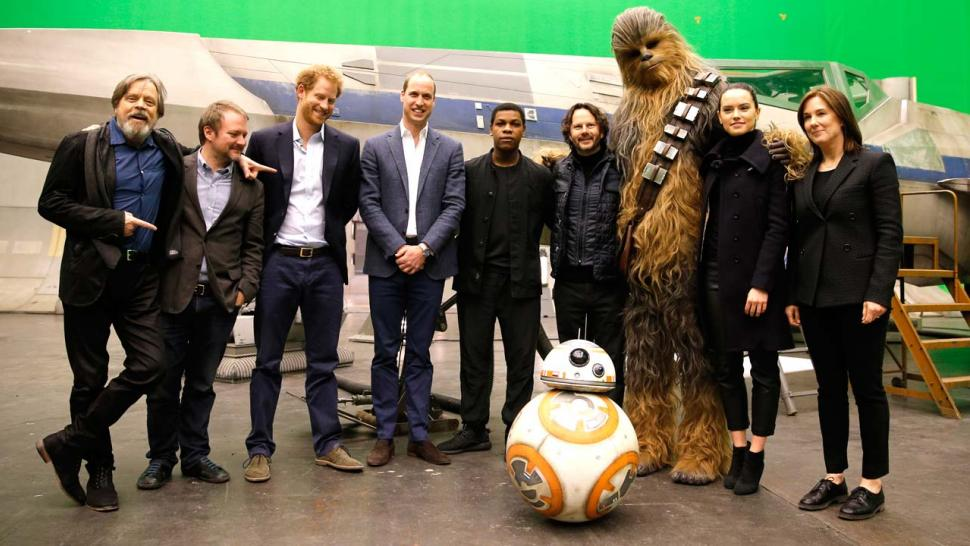 Mark Hamill, Rian Johnson, Prince Harry, Prince William, John Boyega, Ram Bergman, Chewbacca, Daisy Ridley, Ka