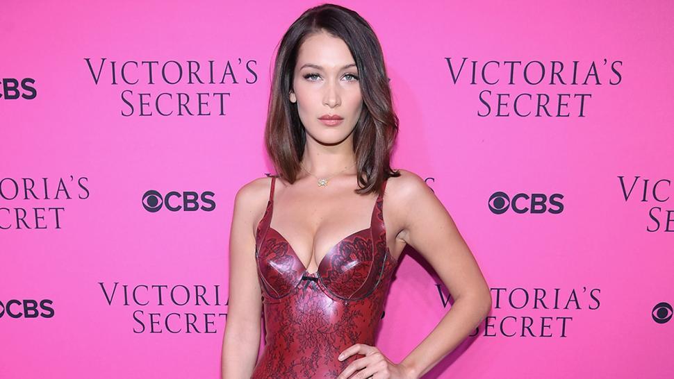 b6b5aaabc8 Bella Hadid Rocks Skintight Latex Dress for Victoria s Secret ...