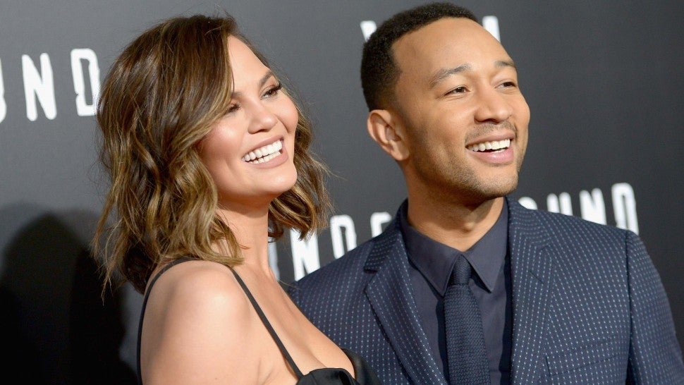 Chrissy Teigen and John Legend at WGN America's 'Underground' Season Two Premiere Screening at Regency Village Theatre in Westood, California