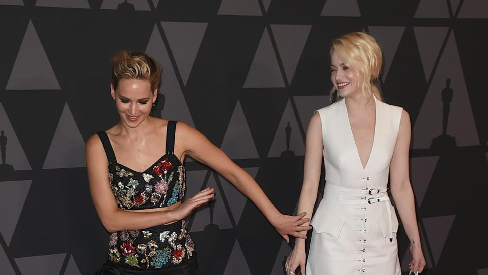 d33d835a0c277 Emma Stone and Jennifer Lawrence Are Friendship Goals at the 2017 Governors  Awards -- See the Pics!