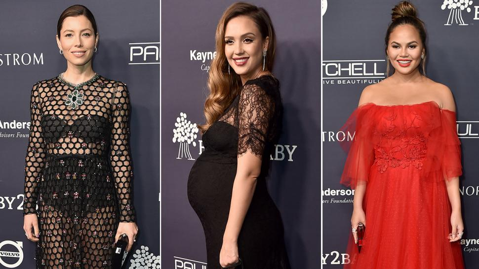 be3d86bd9ee4c Jessica Biel Wears Sheer Gown While Jessica Alba Goes Maternity Chic at  Baby2Baby Gala: Pics!