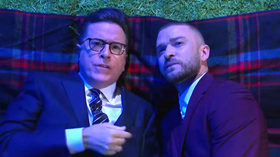 Justin Timberlake and Stephen Colbert on Late Show