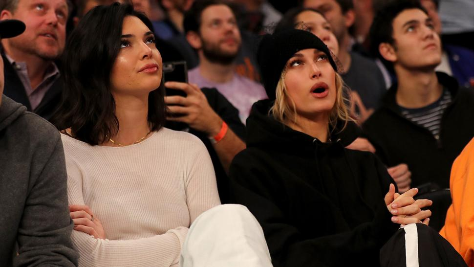 Kendall Jenner and Hailey Baldwin courtside