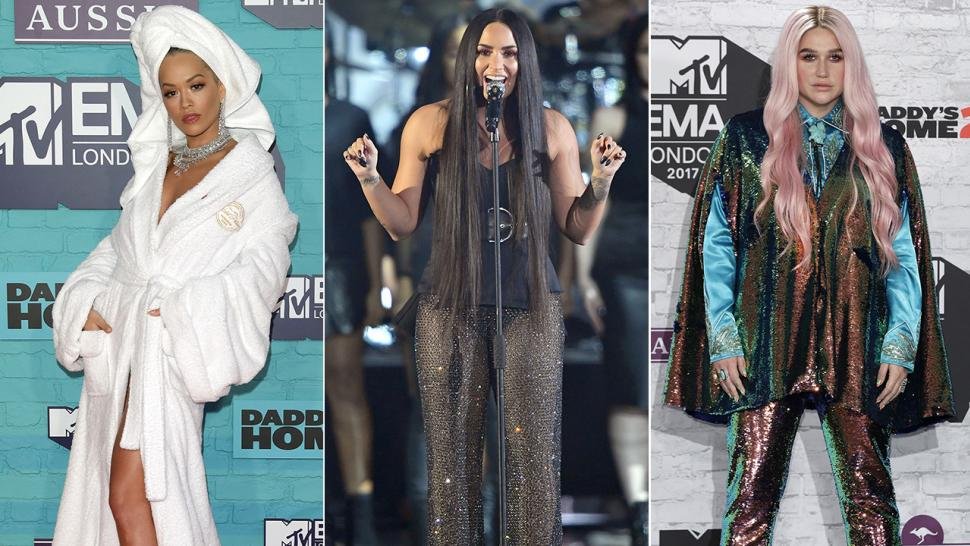 Rita Ora, Demi Lovato, Kesha at MTV EMAs