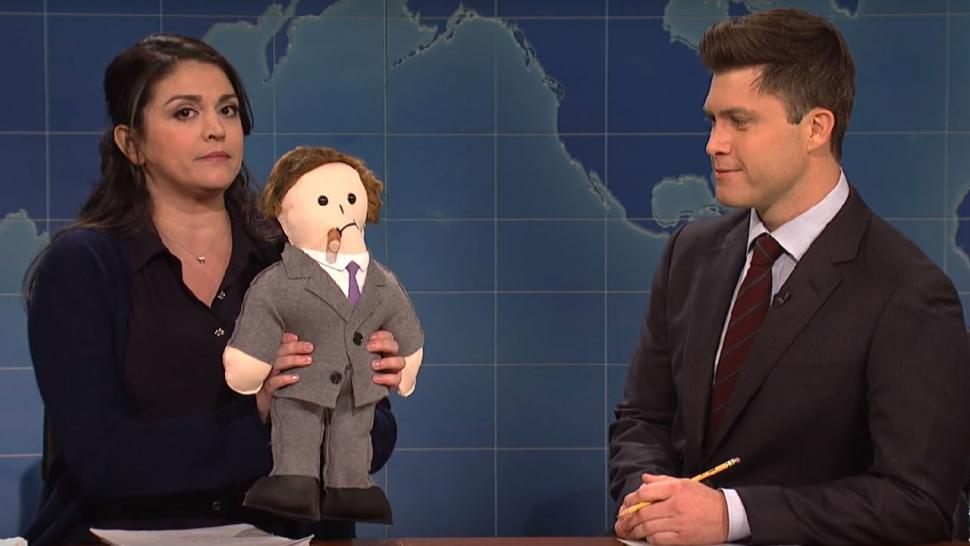 Cecily Strong and Weekend Update anchor Colin Jost on 'Saturday Night Live'