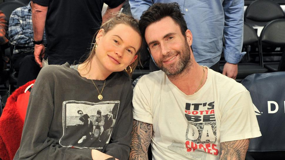 Adam Levine and Behati Prinsloo at Lakers game