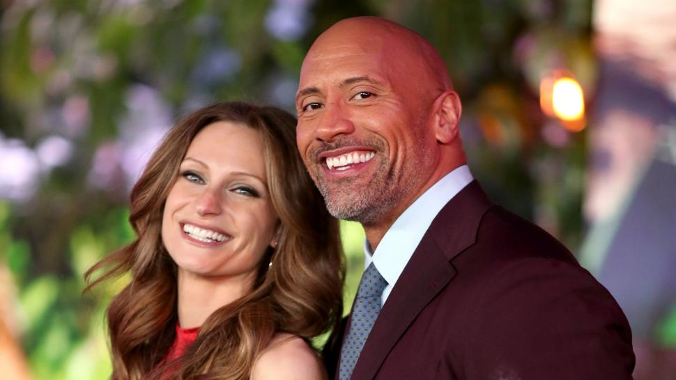 Dwayne Johnson and Lauren Hashian at Jumanji premiere