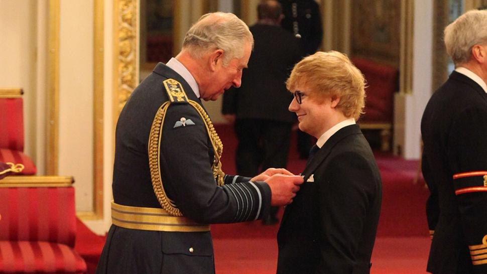 Ed Sheeran Receives Medal from Prince Charles at Buckingham Palace