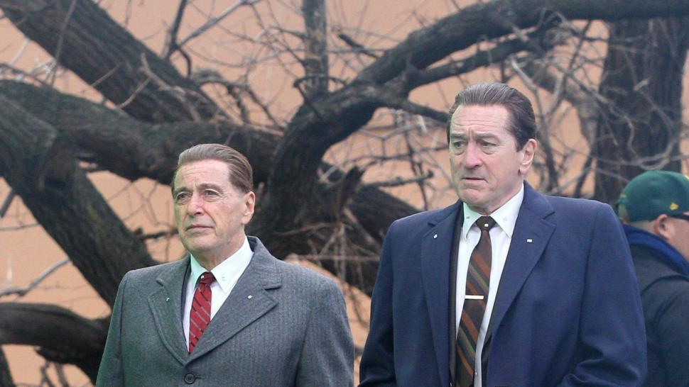 Robert De Niro spotted wearing HUGE platform shoes to make him taller than co-star Al Pacino on the set of their new movie The Irishman