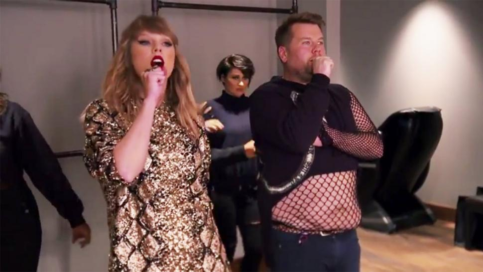 James Corden 'Helps out' Taylor Swift as a Cringeworthy Replacement Backup Dancer