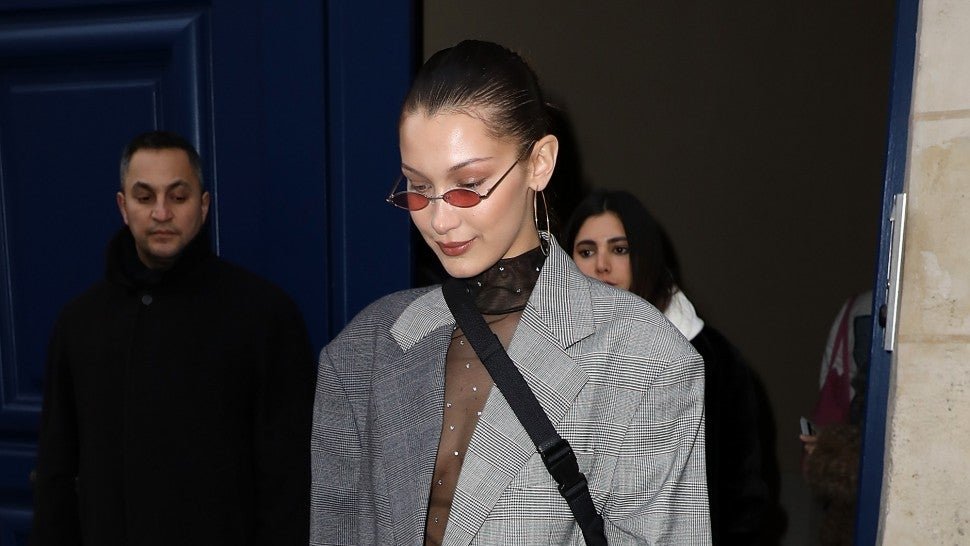1dca5c25c342 Bella Hadid Goes Braless in Sheer Dress and Oversized Two-Toned Blazer --  See the Look!