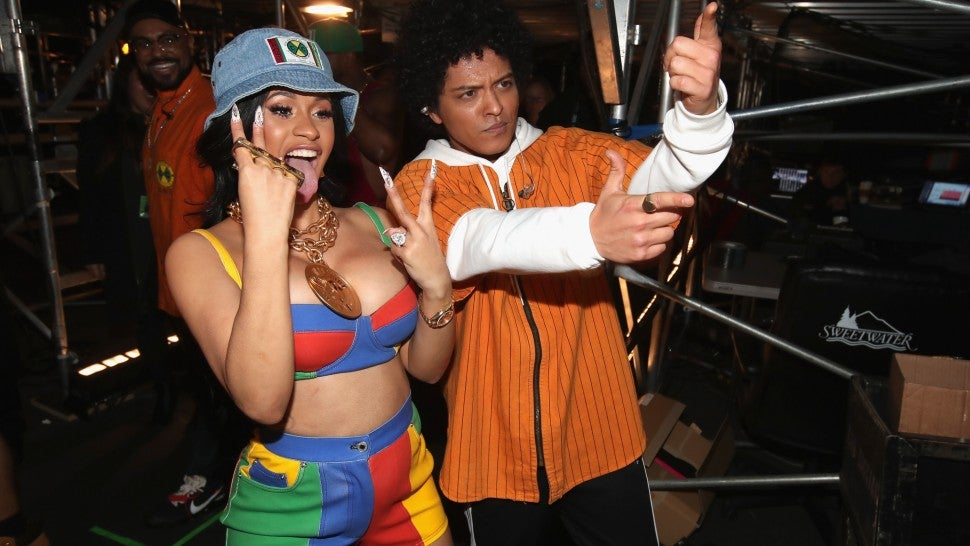 Cardi B and Bruno Mars at 2018 GRAMMYs