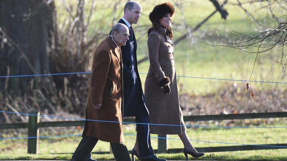 Kate Middleton heads to church with Prince William and Prince Philip
