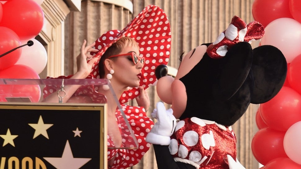 Katy Perry presenting Minnie Mouse with her Hollywood Walk of Fame star.