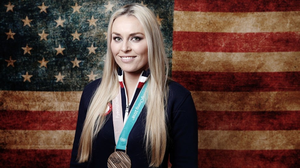 Lindsey Vonn with bronze medal at 2018 Olympics