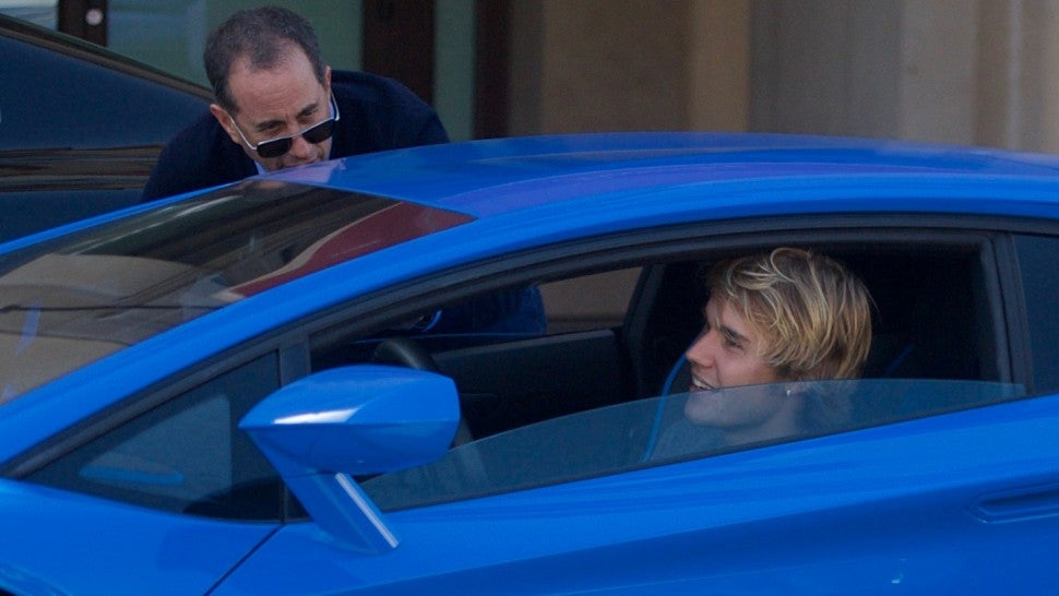 Justin Bieber runs into Jerry Seinfeld in Beverly Hills, California