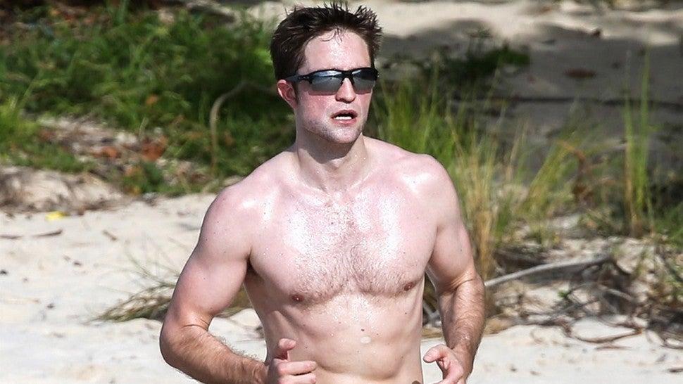 robert pattinson shirtless and jogging barefoot on the