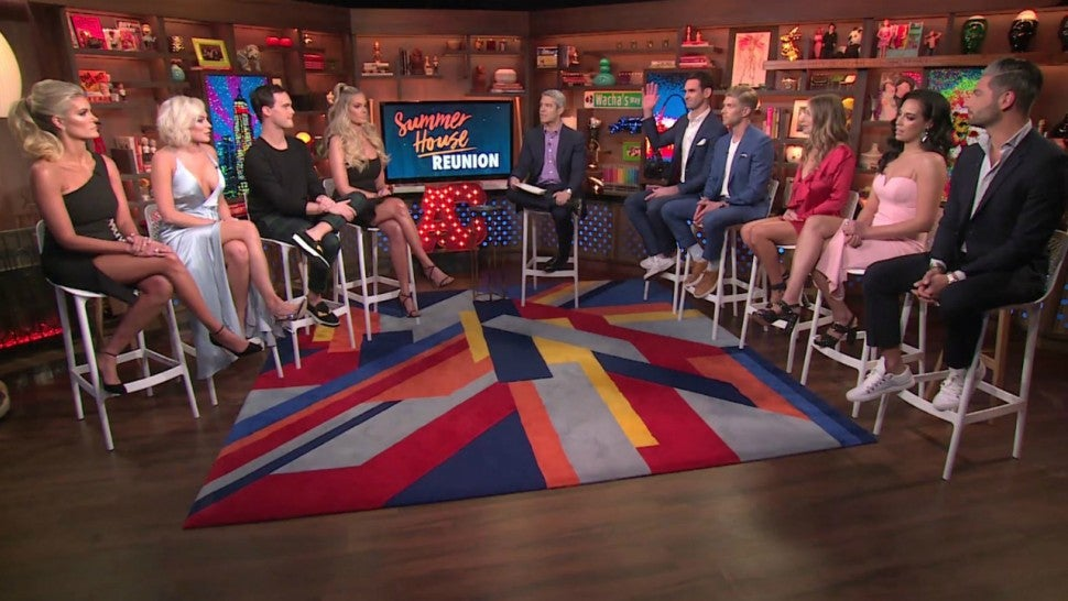 The cast of Bravo's 'Summer House' with 'Watch What Happens Live' host Andy Cohen.