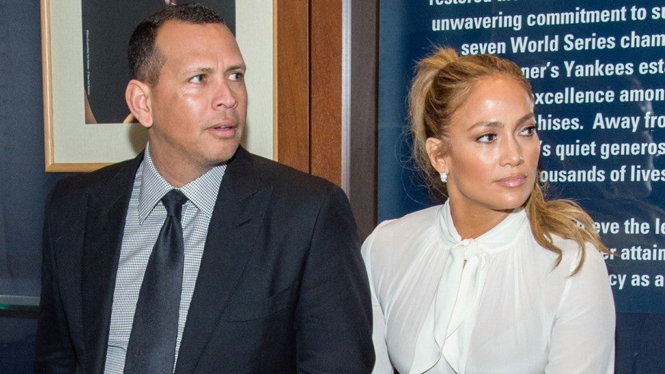 Alex Rodriguez and Jennifer Lopez at yankees shark tank event