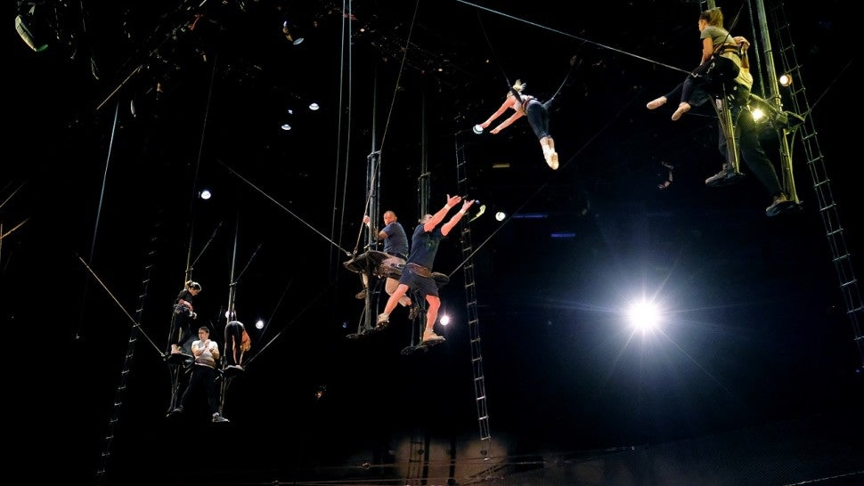 Acrobats rehearse Cirque Du Soleil's 'OVO' show at Barclays Center of Brooklyn on July 5, 2017 in New York City.