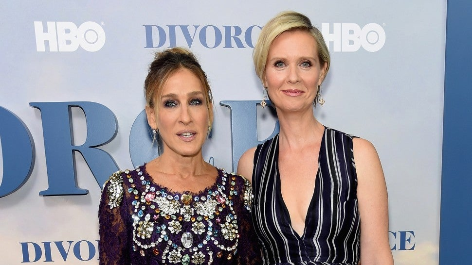 Sarah Jessica Parker and Cynthia Nixon attend the 'Divorce' New York premiere  on Oct. 4, 2016.