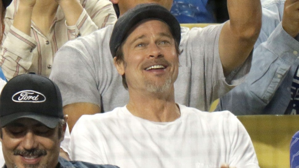 Brad Pitt at LA Dodgers game