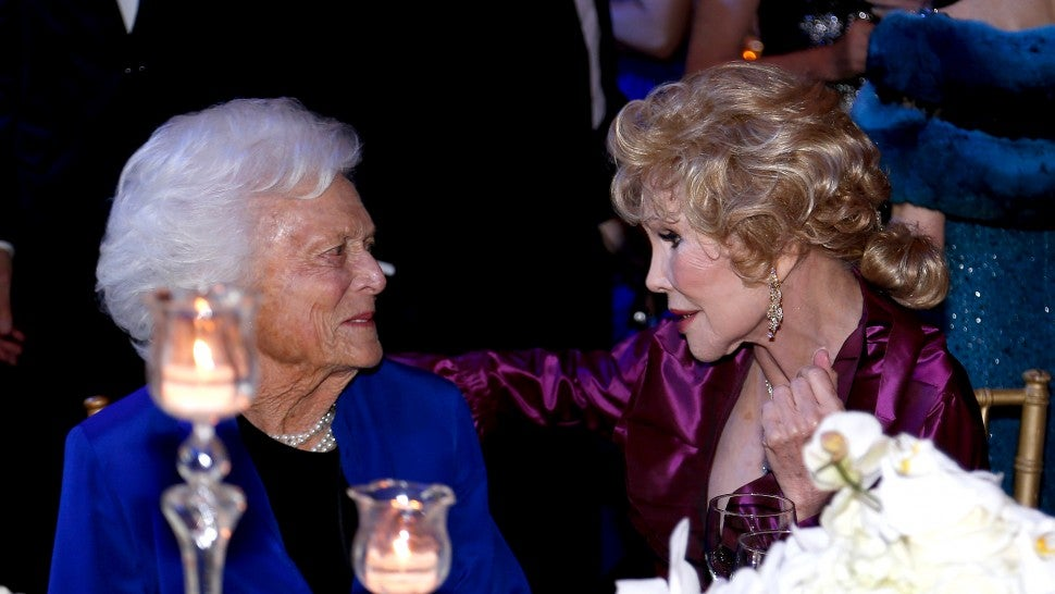 Honoree Barbara Bush and Joanne King Herring attend the UNICEF Audrey Hepburn Society Ball on November 6, 2015 in Houston, Texas.